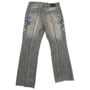 Affliction Jeans - Affliction Gray Drowning Skulls Embroidered Jeans